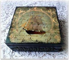 Vintage style wooden tea box decoupage tea by CarmenHandCrafts