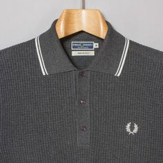 Fred Perry Laurel Wreath Texture Knitted Shirt in Charcoal Marl