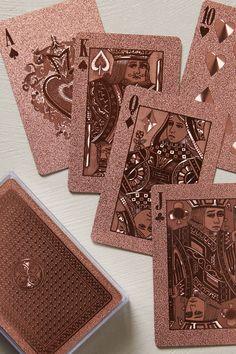A♠ K♠ Q♦ J♣ 10♥ Metallic Playing Cards - anthropologie.com