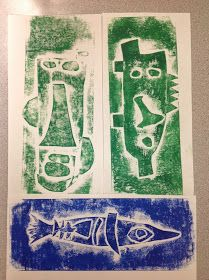 W e learned that a print is a way of copying an image. Second graders worked on creating spring inspired monoprint...