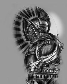Clock Tattoo Design, Tattoo Design Drawings, Tattoo Sleeve Designs, Tattoo Designs Men, Sleeve Tattoos, Tattoo Guerreiro, Military Sleeve Tattoo, Anonymous Tattoo, Medieval Tattoo