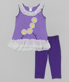 This Purple Daisy Ruffle Top & Leggings - Toddler & Girls is perfect! #zulilyfinds