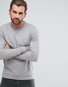 ASOS Lightweight Muscle Sweatshirt in Gray Male Fashion and Men Style