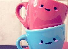 love these mugs, hehe Chocolate Caliente, Hot Chocolate, Cute Mugs, Cute Coffee Mugs, Pretty Mugs, Coffee Tumbler, Funny Mugs, Happy Tea, Happy Coffee
