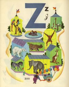 Z is for zoo English Alphabet Letters, Alphabet Book, Childrens Alphabet, Childrens Books, Abc Party, Children's Book Illustration, Book Illustrations, Collage Artists, Little Golden Books