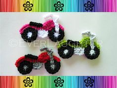 This listing is for a PDF PATTERN for a crocheted motorcycle applique. The applique are great for scrapbooking, hats, pins and many other crafts. Size will vary by yarn and hook size. Finished sizes using size H/5mm hook and worsted weight yarn: Approx. 4 ½ inches across and 2 ¾