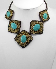Turquoise and Brass Detailed Squared Statement Necklace