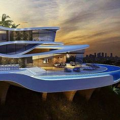 Modern Architecture House, Architecture Design, Casas The Sims 4, Modern Villa Design, Futuristic Home, Luxury Homes Dream Houses, Modern Mansion, Dream House Exterior, Mansions Homes