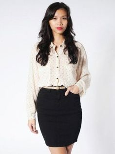 American Apparel Lightweight Stretch Twill High-Waist Pencil Skirt, (sexy, skirt, skirts for women, skirts, mini skirt, american apparel, mini dress, pencil skirt, dress, sexy skirt)