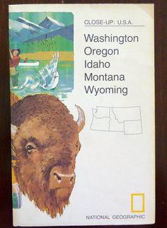 Vintage National Geographic Map, March 1973 - Close-up: USA - Washington, Oregon, Idaho, Montana, Wyoming - Collectible