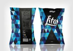 """Concept Design for Kellogg's Lite Potato Chips. Using a design pattern instead of a huge photo of the chips themselves. Blue for """"Sea Salt"""" and red for """"Thai Chili""""."""