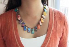 resin + photos + paint chips Jewelry tutorial