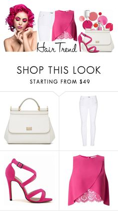 """Pink Hair Trend"" by neringa-ltu ❤ liked on Polyvore featuring Clinique, Dolce&Gabbana, rag & bone, Miss Selfridge, hairtrend and rainbowhair"