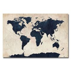 Trademark Fine Art 'World Map - Navy' by Michael Tompsett Graphic Art on Wrapped Canvas Canvas Wall Art, Canvas Prints, Big Canvas, Canvas Size, Framed Prints, Art Prints, Deco Studio, Art Carte, World Map Canvas