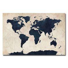 Michael Tompsett 'World Map - Navy' canvas art | Overstock.com Shopping - Top Rated Trademark Fine Art Canvas