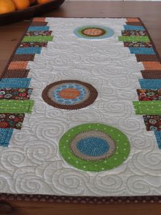 Bold Modern Quilted Table Runner with Appliqued by SewYouLikeIt, $55.00