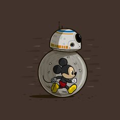 Awesome 'MM8' design on TeePublic!- Mickey Mouse and BB8 go together now Disney have bought Star Wars.