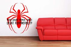 Spiderman Peter Parker Quote Saying by VinylWallLettering on Etsy, $26.00