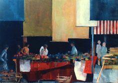 """""""Un marché couvert""""-Bénédicte Garnier-Fihey-Oil on canvas"""