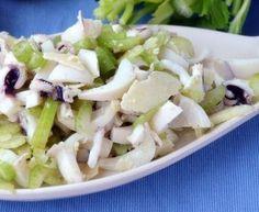 Insalata tiepida di Seppie e Finocchi Ingredienti  Per l'insalata: 2 seppie da circa 200 g 300 g di finocchi 15 g di olive taggiasche 5 g di capperi