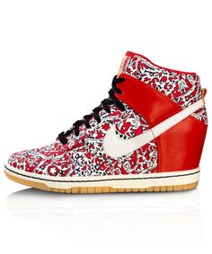 red liberty print DUNK SKY HI SPORT TRAINERS, NIKE X LIBERTY