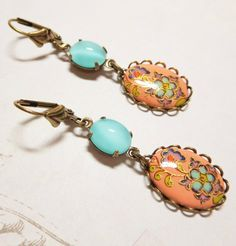 Vintage Glass Earrings Dangles Coral and by dfoxjewelrydesigns, $22.95