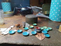 Working progress enamel earrings. 2018 Outdoor Tables, Outdoor Decor, Enamel, Outdoor Furniture, Earrings, Design, Home Decor, Isomalt, Homemade Home Decor