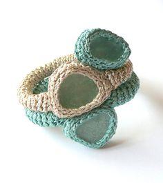 Boho bracelet with 3 sea glass Aquamarine blue beige by astash