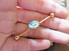 Opal Industrial Barbell Piercing Earring Jewelry by Azeetadesigns, $20.00
