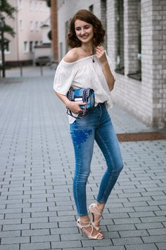 Streetstyle bestickte Jeans Pimkie H&M Michael Kors Look Outfit