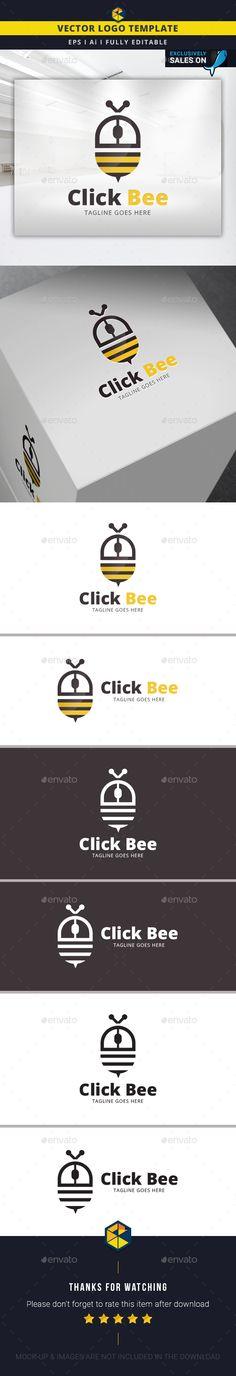 Click Bee  Logo Design Template Vector #logotype Download it here: http://graphicriver.net/item/click-bee-logo-template/14285431?s_rank=1528?ref=nesto