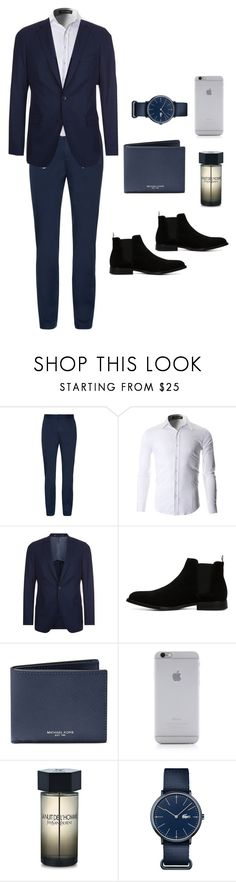 """""""Untitled #121"""" by raissawl ❤ liked on Polyvore featuring BOSS Hugo Boss, ALDO, Michael Kors, Native Union, Yves Saint Laurent, Lacoste, men's fashion and menswear"""
