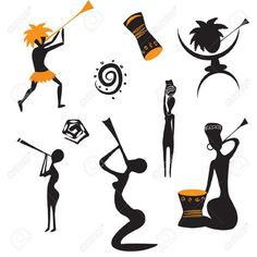 African Cliparts, Stock Vector And Royalty Free African Illustrations Art Beat, Rasta Art, African Tattoo, African Symbols, African Art Paintings, African Dance, Africa Art, Shadow Art, African Masks