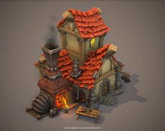 Thunder Cloud Studio, Defenders of the Klaus game environment, Pirate village - Polycount Forum Game Environment, Environment Concept Art, Environment Design, Zbrush, 3d Fantasy, Fantasy House, Prop Design, Game Design, 3d Home