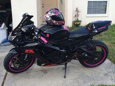 My first bike love it!! #pink&black #motorcyclegirl #gsxr #suzuki #myfirstbike