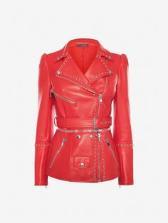 Shop Women's Studded Leather Biker Jacket from the official online store of iconic fashion designer Alexander McQueen. Studded Leather, Leather Men, Leather Jackets, Real Leather, Soft Leather, Types Of Jackets, Jackets For Women, Men's Jackets, Alexander Mcqueen