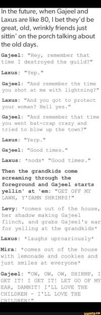 Gajeel, Levy, Laxus, and Mira funny text