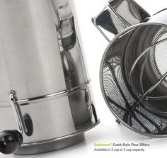 Crank Style Flour Sifter. Triple Mesh. 3 & 5 cup!