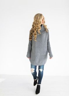 Grey Chunky Knit Pullover, fashion, style, womens fashion, winter fashion, fall fashion, ootd, jessakae, hair, blonde hair, curly hair, makeup