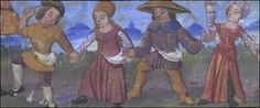 Image of shepherds dancing from a medieval manuscript