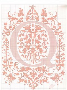"cross stitch alphabet in 2 colors- very ornate monogram 26 single letters -- ""Q"" #17"