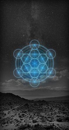 Metatron's Cube - Wallpaper (FREE) - iPhone - Zuvuya Circuit - Art by Martín Mancha Sacred Geometry Symbols, Sacred Geometry Tattoo, Mathematics Geometry, Monte Fuji Japon, Platonic Solid, Ios 7, Foto Art, Flower Of Life, Sacred Art