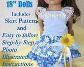 PDF Sewing Pattern for 18 Inch American Girl Doll Clothes -   No 1 SELLER   My Blue Daisy Ruffled Skirt