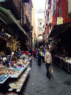 San Gregorio Armeno a very famour street in naples where people make Presepe and do it the old way. Full of people and liveliness