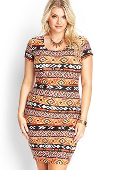 I have the pink one with the Aztec/tribal print. But I want this one too! Southwestern Print Bodycon Dress #F21Plus