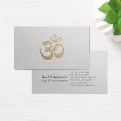 White and Gold Embossed OM Symbol Yoga Instructor Business Card - minimalist office gifts personalize office cyo custom
