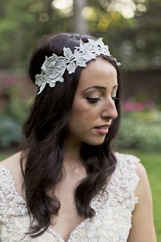 Glam, Vintage Inspired Styled Shoot | OneWed A lovely way to do a head band with lace.