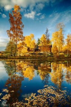 reflective autumn on the lake, Lillehammer, Norway by Cinematic Photography~~ Beautiful World, Beautiful Places, Cinematic Photography, Autumn Scenes, Norway Travel, Fall Pictures, Pretty Pictures, All Nature, Mellow Yellow