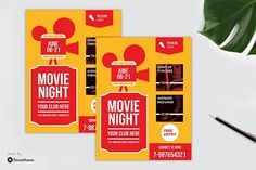 Movie Night Flyer vol. F Movies, Game Logo, Design Bundles, School Design, Flyer Template, Flyers, Flyer Design, Fonts, Graphics