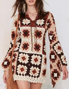 Perfect crochet pattern for making a granny squares dress. Comes with detailed do-it-yourself PDF instructions and charts.